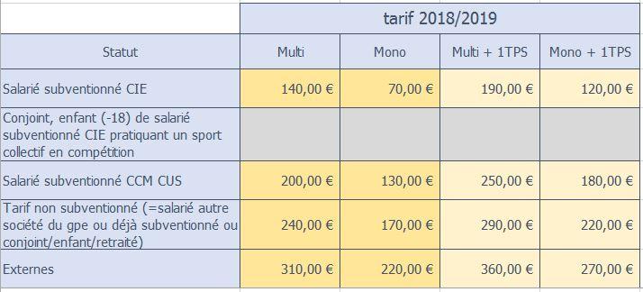 tarif salle